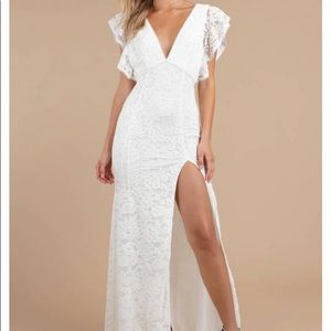 Feel For You White Lace Maxi Dress